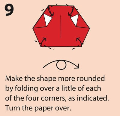How to fold an origami character. Origami Daruma Doll - Step 9