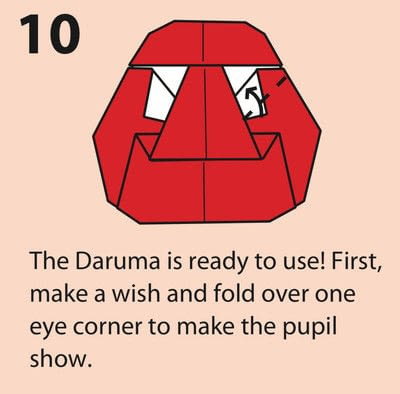 How to fold an origami character. Origami Daruma Doll - Step 10