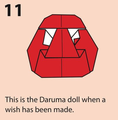How to fold an origami character. Origami Daruma Doll - Step 11