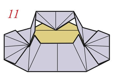 How to fold an origami box. Pyramid Box Base - Step 12