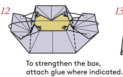 How to fold an origami box. Pyramid Box Base - Step 13