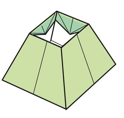 How to fold an origami box. Pyramid Box Base - Step 17