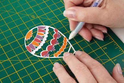 How to cut a piece of papercutting. Basking Balloons - Step 2