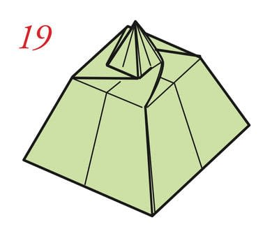 How to fold an origami box. Pyramid Boxes - Step 20