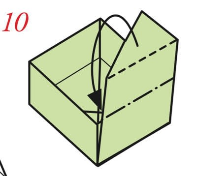 How to fold an origami box. The Traditional Masu Box - Step 9