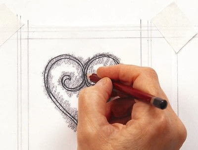 How to create art / a model. Language Of Love Scroll Lettering - Step 4