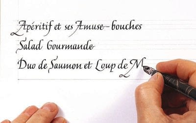 How to create art / a model. A Celebration Menu In French Lettering - Step 2