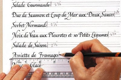 How to create art / a model. A Celebration Menu In French Lettering - Step 3