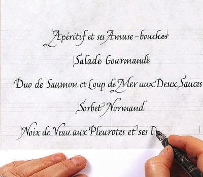 How to create art / a model. A Celebration Menu In French Lettering - Step 6