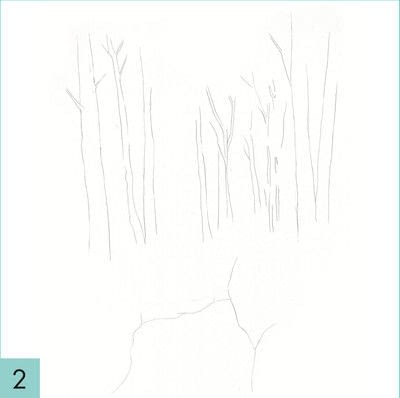 How to paint a landscape. How To Draw A Woodland - Step 2