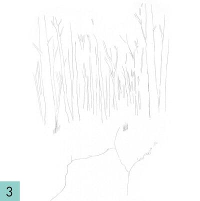 How to paint a landscape. How To Draw A Woodland - Step 3