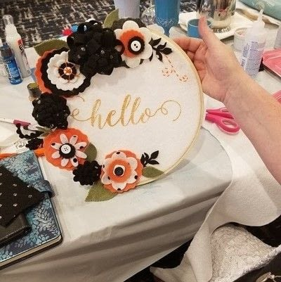 "How to make a framed decoration. ""Hello"" Spring Welcome Hoop - Step 3"