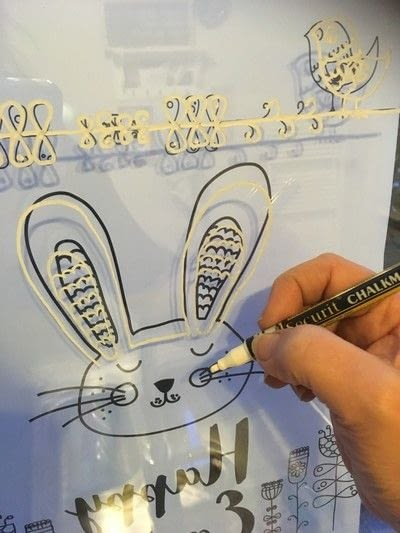 How to make a window decoration. Easter window drawing - Step 2
