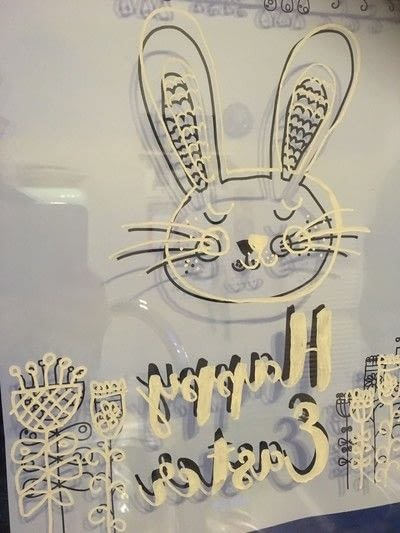 How to make a window decoration. Easter window drawing - Step 3