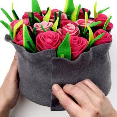 How to make a piece of paper art. Felt Flower Arrangement - Step 6