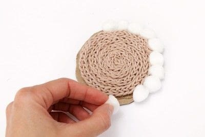 How to stitch a knit or crochet coaster. Winter Coaster With A Knitting Doll - Step 4
