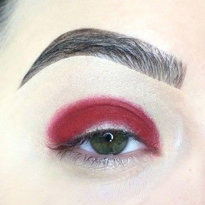 How to create a cut crease eye makeup look. Red Cut Crease Tutorial - Step 2