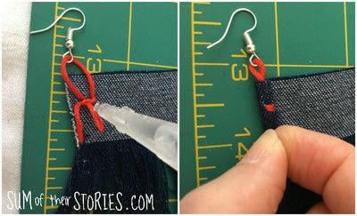 How to make a tassel earring. Denim Tassel Earrings - Step 3