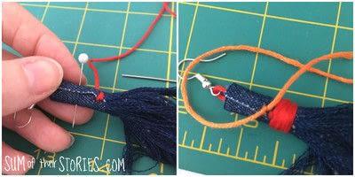 How to make a tassel earring. Denim Tassel Earrings - Step 4