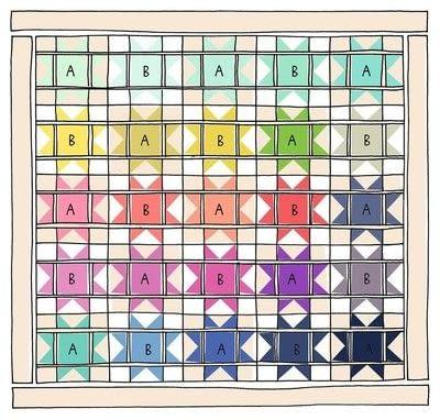 How to make a patchwork quilt. Modern Stars Quilt - Step 2