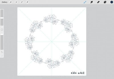 How to make a digital artwork. Wreath In Procreate - Step 2