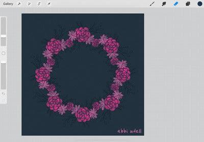 How to make a digital artwork. Wreath In Procreate - Step 5