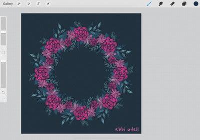 How to make a digital artwork. Wreath In Procreate - Step 6