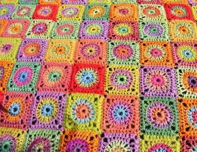 How to crochet a granny square blanket. Cornucopia Crochet Blanket - Step 1