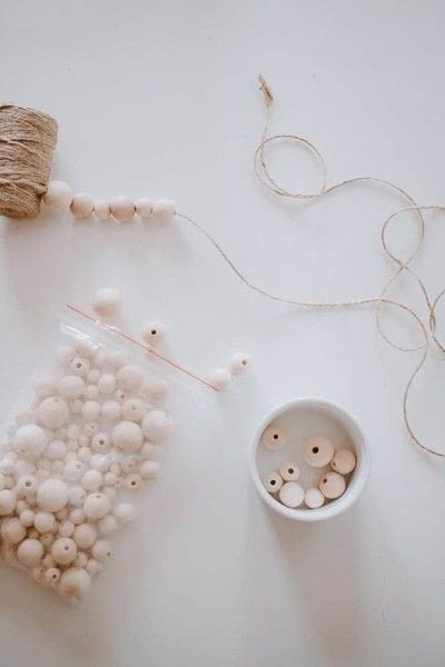 How to make a garland. Make A Wood Bead Garland - Step 1