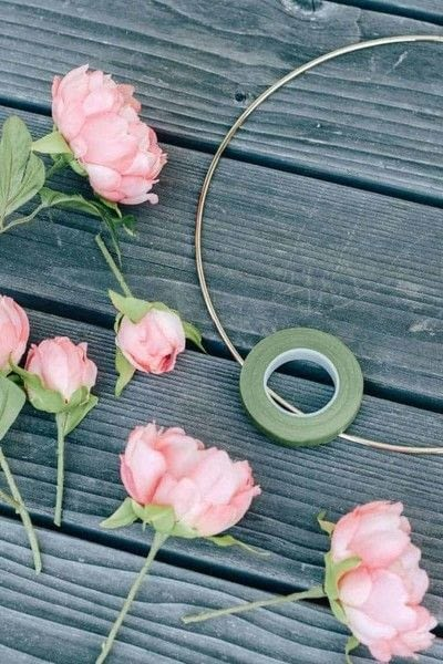 How to make a floral wreath. Spring Hoop Wreath - Step 1