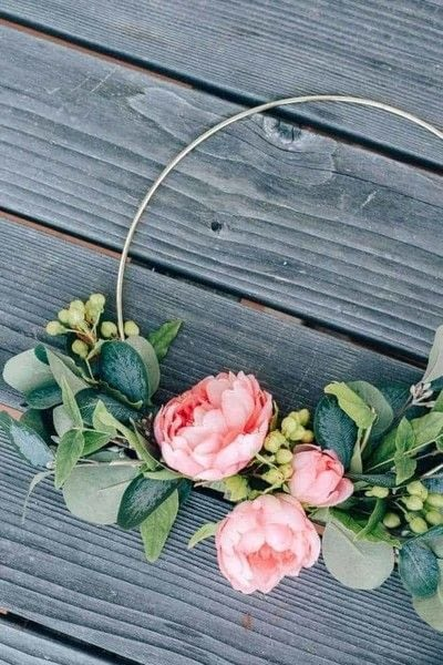 How to make a floral wreath. Spring Hoop Wreath - Step 3