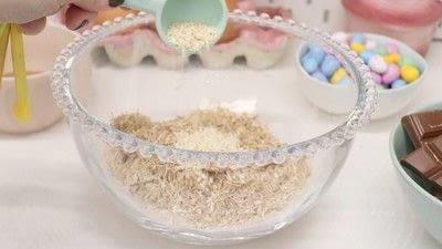 How to bake a shredded wheat cake. Chocolate Nests - Step 4