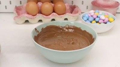 How to bake a shredded wheat cake. Chocolate Nests - Step 6