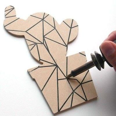 How to make a piece of paper art. Geometric Cactus Trio - Step 2
