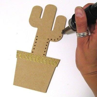How to make a piece of paper art. Geometric Cactus Trio - Step 4