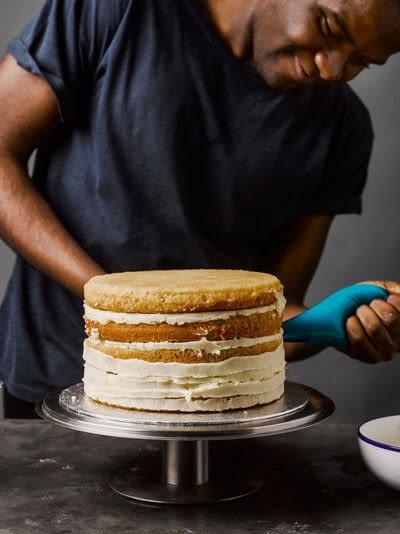 How to bake a cake. Rhubarb X Custard Cake - Step 9