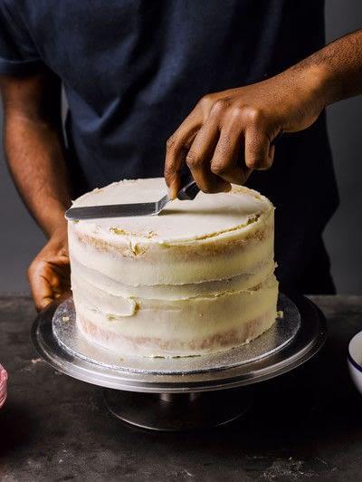 How to bake a cake. Rhubarb X Custard Cake - Step 10
