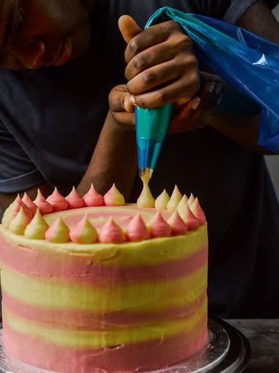 How to bake a cake. Rhubarb X Custard Cake - Step 15