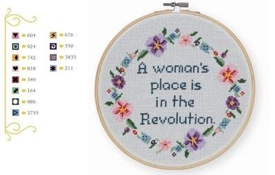 How to cross stitch art. A Woman's Place Is In The Revolution Cross Stitch - Step 1