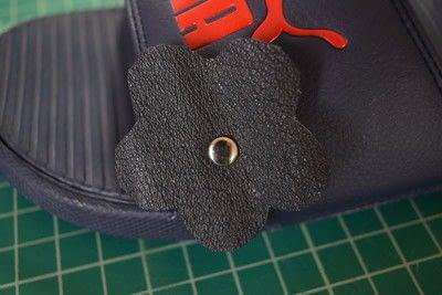 How to embellish a pair of floral shoes. Diy Flower Embellished Slide Sandals - Step 6
