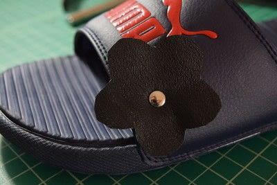 How to embellish a pair of floral shoes. Diy Flower Embellished Slide Sandals - Step 10