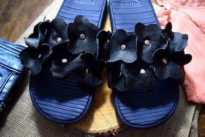How to embellish a pair of floral shoes. Diy Flower Embellished Slide Sandals - Step 11