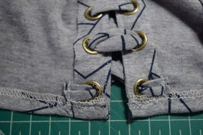 How to make a revamped t-shirt. Diy T Shirt Upcycle To Cropped Top With Lace Up Detail - Step 18