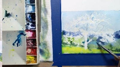 How to make a greetings card. Spring Landscape Greeting Card - Step 6