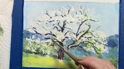 How to make a greetings card. Spring Landscape Greeting Card - Step 9