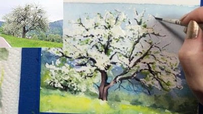 How to make a greetings card. Spring Landscape Greeting Card - Step 10
