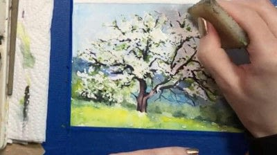How to make a greetings card. Spring Landscape Greeting Card - Step 11