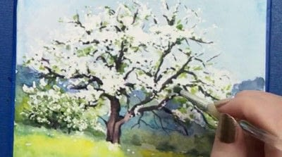 How to make a greetings card. Spring Landscape Greeting Card - Step 12