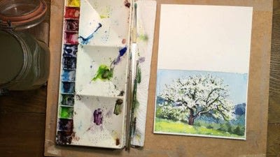 How to make a greetings card. Spring Landscape Greeting Card - Step 13