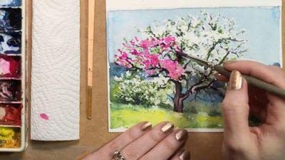 How to make a greetings card. Spring Landscape Greeting Card - Step 14